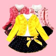 Одежда для девочек платье принцессы Комплект из трех предметов, футболка с розой Короткая Юбка качественная одежда для детей от 3 до 10 лет Лидер продаж года