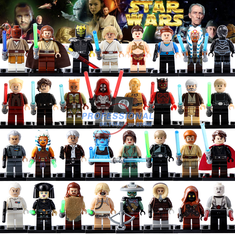 Single Figures Star War  Darth Vader R2D2 Leia Boba Fett Clone Trooper Kylo Ren Figures Blocks Building Toys mini qute kawaii wise hawk star war darth vader x wing starfighter r2d2 yoda building blocks brick model figures educational toy