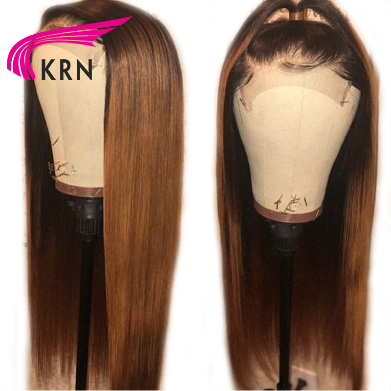 KRN Straight 13x6 Deep Part PrePlucked Lace Front Human Hair Wigs  8-26 Inch Ombre Remy Hair Glueless Brazilian Wigs 180 Density