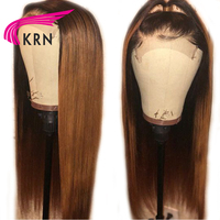 KRN Straight 13x6 Deep Part PrePlucked Lace Front Human Hair Wigs 8 26 Inch Ombre Remy Hair Glueless Brazilian Wigs 180 Density
