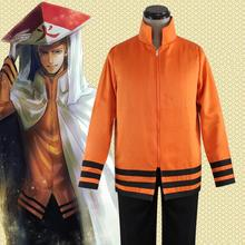 Man Cosplay Clothing Anime Naruto Cosplay The Last Shippuden Uzumaki Naruto Costume Orange Coat Three-Quarter Pant Suit For Man three man 4