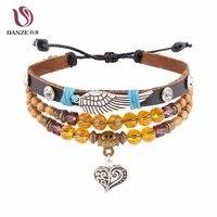 DANZE Bohemia Feather Leather Bracelet Set for Women Female Heart Pendant Multilevel Beads Bracelets Female Vintage Wing Jewelry