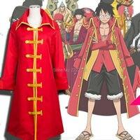 2018 Anime One Piece Cosplay Monkey D Luffy 2 Anos Mais Tarde Cosplay Manto Vermelho Chapéu de Palha Pirata Capitão Cosplay Robes OLong