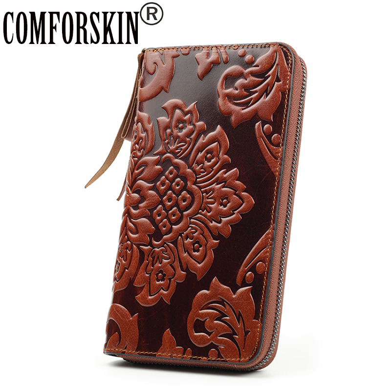 COMFORSKIN Billetera Mujer Genuine Leather Unique Embossed Floral Famous Brand Long Women Organizer Wallets Carteira Feminina