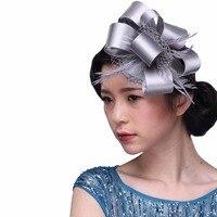 4Colors Ladies Headwear Vintage Royal Elegant Fascinator Hat Flower Feather Fascinators Hair Accessories Bow Barrettes Hairband