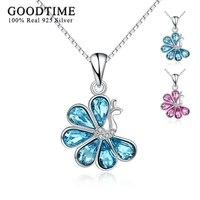 Kolye Gümüş 925 Takı Mücevher Mavi Kristal Peacock Kolye Kolye 925 Ayar Gümüş Kolye Kadın Kız Hediye