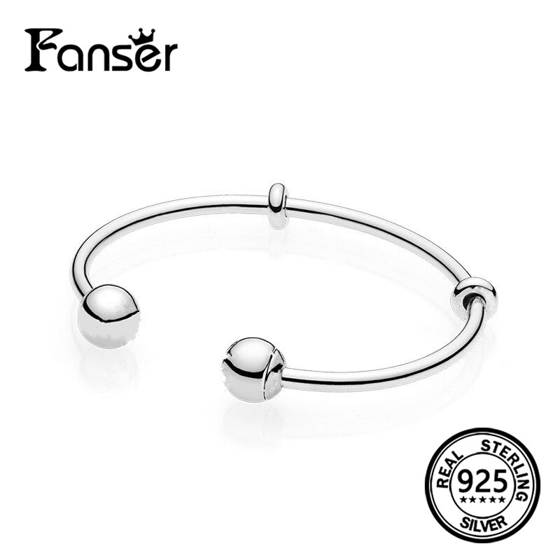 FANSER Open Women round ball BANGLE Geniune S925 Silver Original Copy BRACELET Has Logo & Two-Tone PANDOR Fashion Jewelry