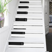 Creative self adhesive staircase stickers DIY Piano keys pattern stickers staircase stickers stair decoration 6 pcs per set