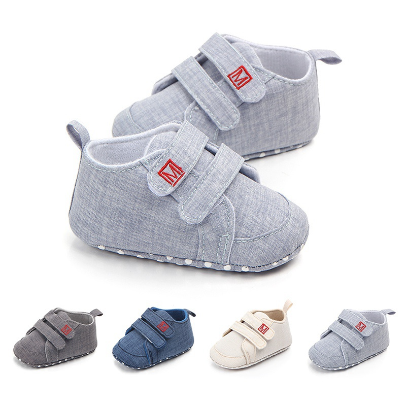 Baby First Walker Shoes Classic Canvas Sneakers Baby Boys Shoes Newborn Toddler Soft Sole No-slip Prewalkers Hook&Loop Shoe