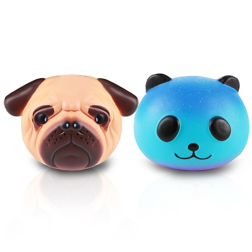 New Squishy Toy Simulation Cute Pugs Dog Head Starry Panda Squishy Charm Slow Rising Toys Jumbo Anti Stress Relief Toy