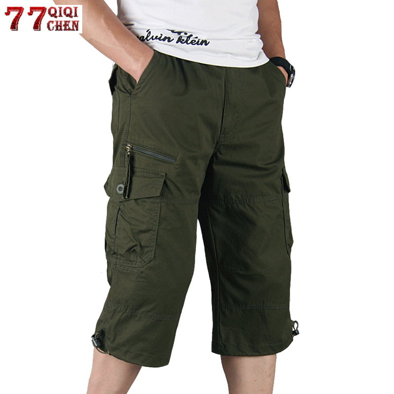 Men's Long Length Cargo   Shorts   Summer Multi-Pocket Casual Cotton Elastic Capri Pants Male Military Tactical   Short   Hot Breeches