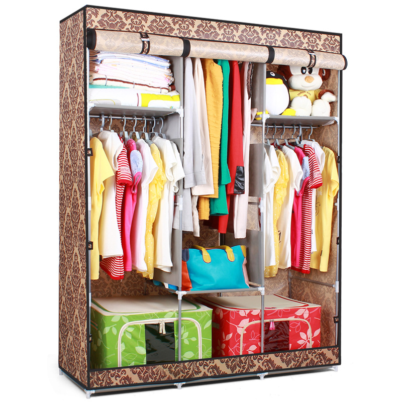 Folding Portable Double Wardrobe Cabinet Non Woven Fabric Wardrobe Closet  Big Capacity Clothes Storage Locker Hanging In Wardrobes From Furniture On  ...