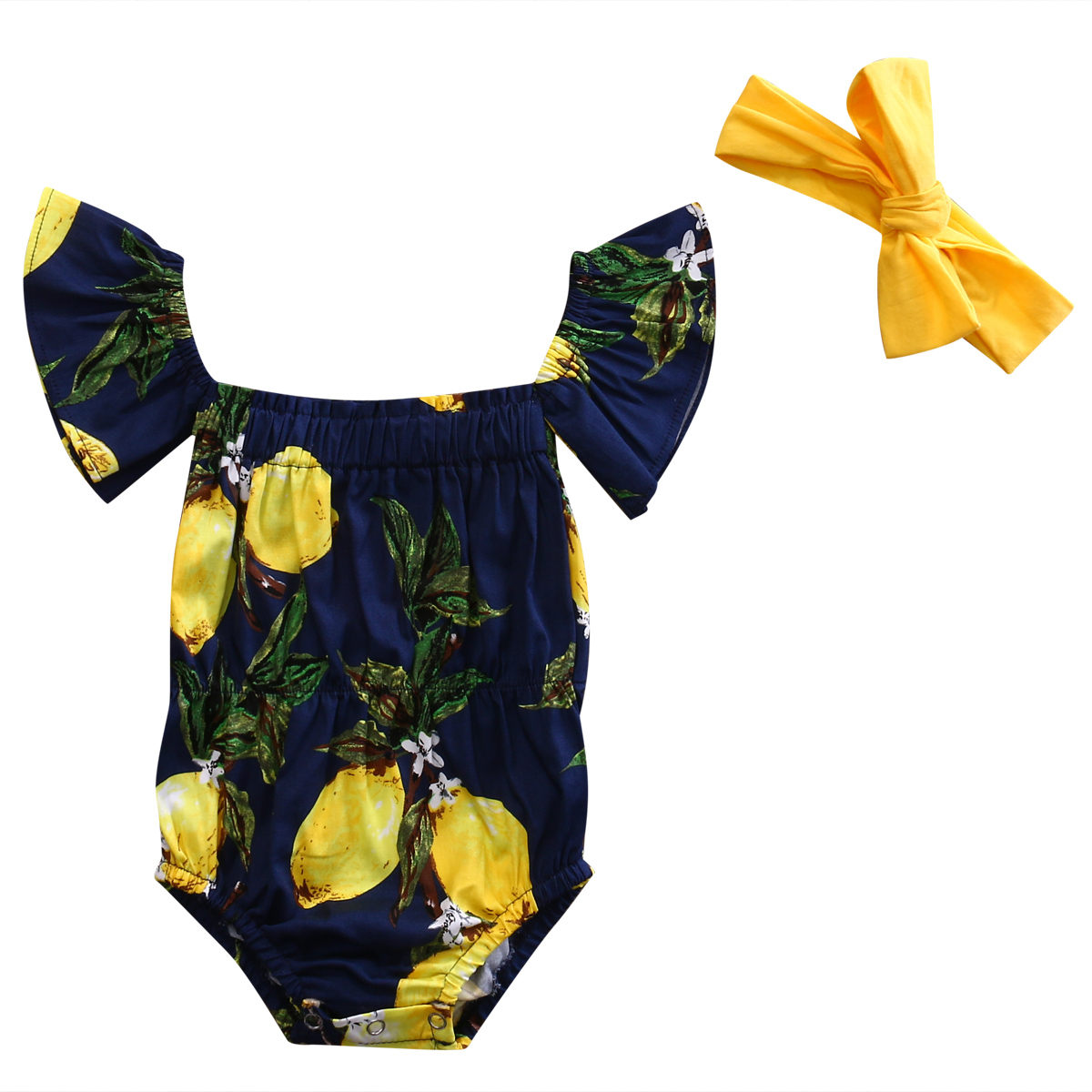 Cute Newborn Baby Girl Clothes 2017 Summer Off shoulder Pear Printed Toddler Kids Jumpsuit +Headband Outfits Sunsuit Clothing