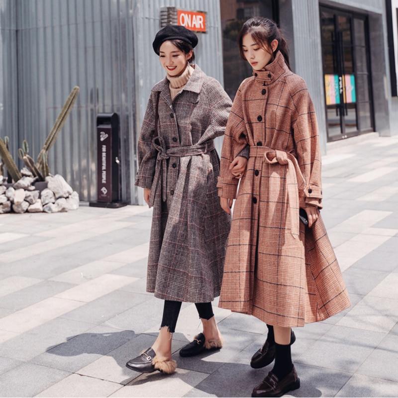De Top 2018 Outwear Unique Col Plaid Abrigos Invierno Hiver Long 1 Qualité Laine vent Manteau long Coupe 2 Mujer Poitrine Femmes X wwvIZ