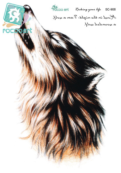 Rocooart SC2908 3D Sketch Horrible Brown Howl Wolf Head Designs Cool Chest Body Art Temporary Tattoo Stickers Fake Big Tatoos