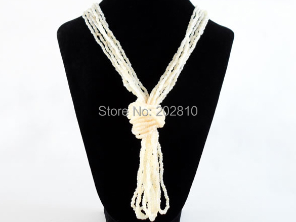 Europe United States trendy fine white glass beads rope chain necklace,Hyperbole elhnic glass beads chains necklaces