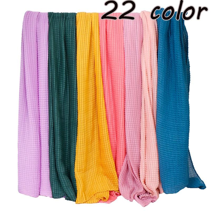 Plain Crinkle hijab scarf pleated shawls muslim wrinkle scarves viscose cotton plaid wraps stretchy headband scarves