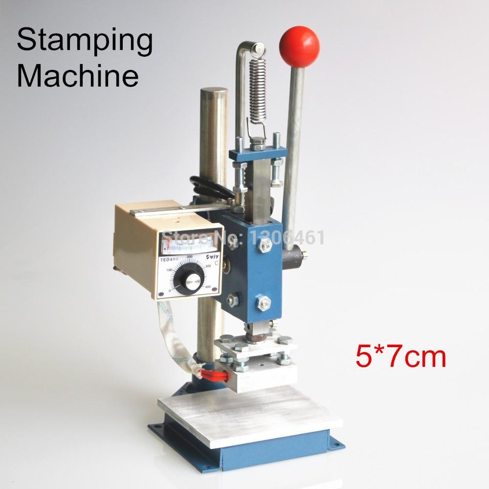 1 Komplekt käsitsi kuumfooliumiga stantsimismasina fooliumtempliga printeri nahast reljeefmasin (5x7cm) 110 V