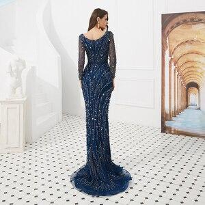 Image 3 - Vestidos de Noche de manga larga con cuentas de cristal, escote en V, corte de sirena, tul azul, Sexy, 2019