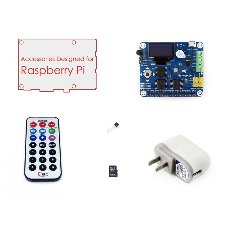Raspberry Pi Accessory Pack B with RPi Expansion Board Pioneer600,16GBMicro SD Card & IR Controller for Raspberry Pi 3B/2B/B+/A+ raspberry pi 3 digital sound card hifi digi expansion board i2s spdif module acrylic case for raspberry pi 2 for raspberry pi b