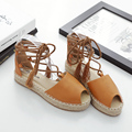 2017 Mujeres de La Borla de Los Holgazanes Alpargatas Slip On Slipony Gladiador Pisos Zapatos de Plataforma Ata Para Arriba Diseñador de la Marca de Lona Alpargatas