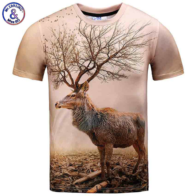 5ee71271 Mr.1991INC Men T Shirts Fashion 3d Deer Funny Nature Scene 3D Digital Print  Brand O Neck Short Sleeve Polyester Summer Fashion
