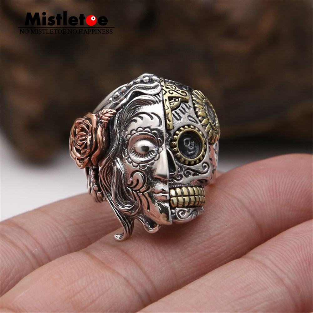 Genuine 100% 925 Sterling Silver Vintage Punk Locomotive Lucky Skull With Rose Flower Ring For Women Men Fashion Jewelry hot sale short plush chew squeaky pet dog toy