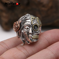 Genuine 100% 925 Sterling Silver Vintage Punk Locomotive Lucky Skull With Rose Flower Ring For Women Men Fashion Jewelry