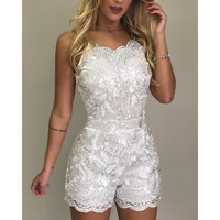 Spaghetti Strap Lace Embroidery Rompers Solid Floral crochet white jumpsuit for women 2019 Summer short jumpsuits combinaison