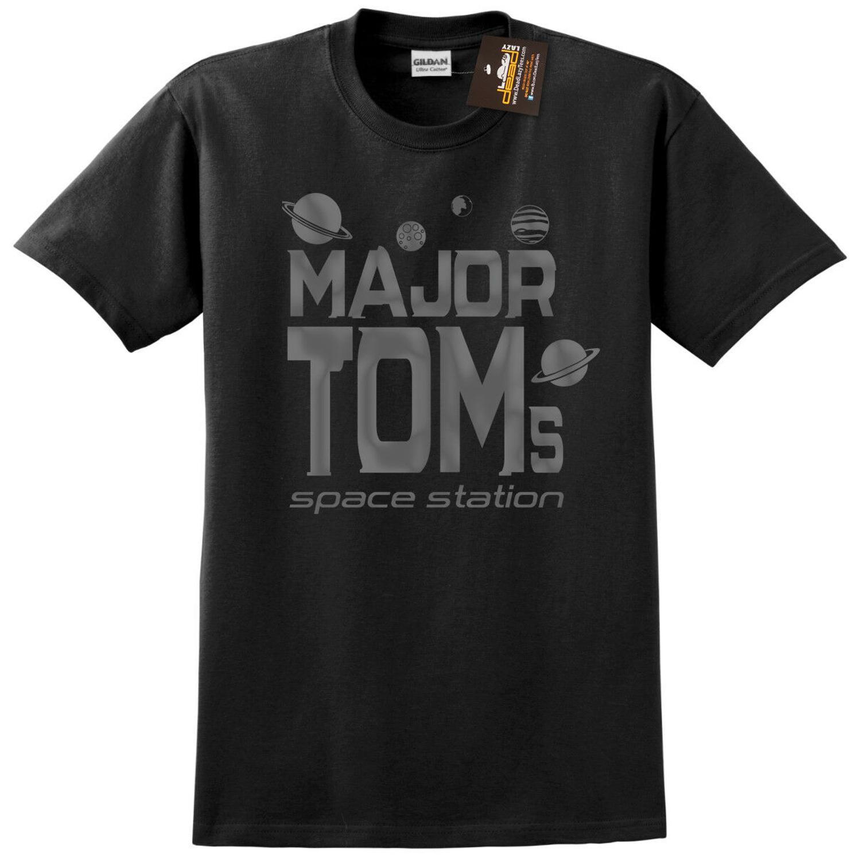 Major Tom'S Space Station Mens Black T-Shirt Hot 2019 Summer Men'S Fashion Print T-Shirt Summer Style Cool Tees