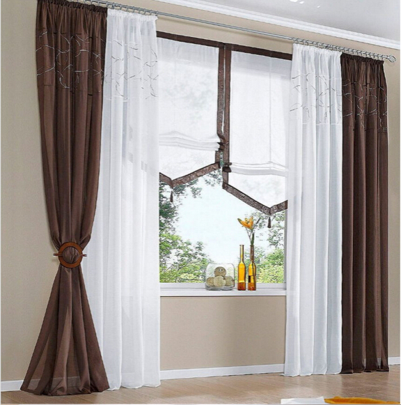 X140cmw Europeismo Blanco Marron Gris Color Tullehilovoile - Cortinas-marron-chocolate