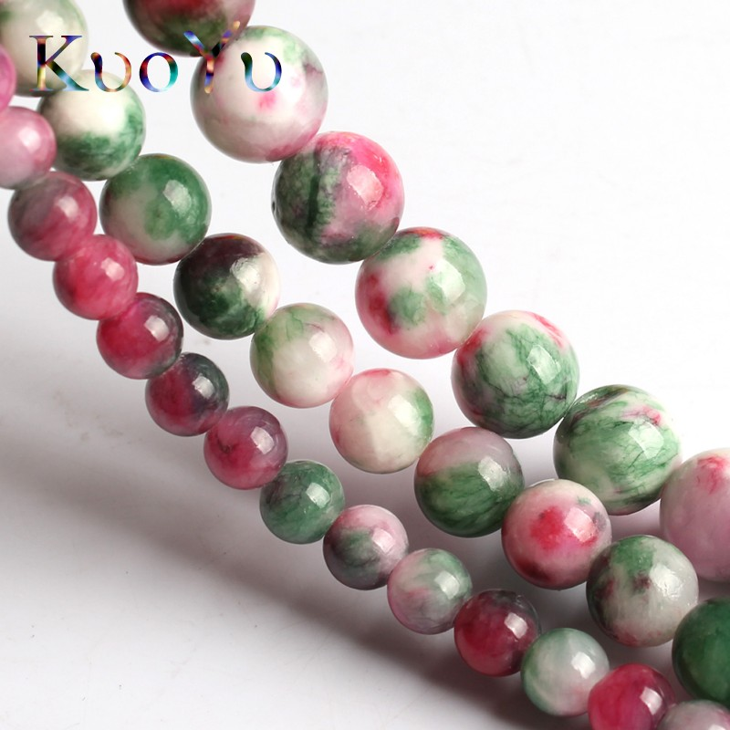 Natural Green Red Colorful Persian Jades Beads Gem Round Loose Bead 15