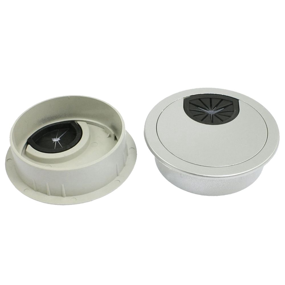 цена на 2 Pcs Round Silver Tone Plastic Computer Desk Grommets Cable Hole Covers 58mm