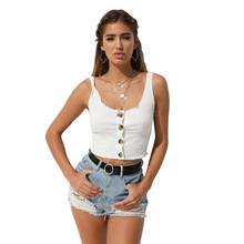2019 Crop Top Woman Sleeveless Solid Sexy Button Black White Wine Tank Short Tops