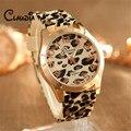 Venta caliente CLAUDIA Nueva Llegada de La Manera Unisex Leopard Ginebra Jalea Del Silicón Del Gel de Cuarzo Analógico Reloj de pulsera FreeShipping Reloj Mujer