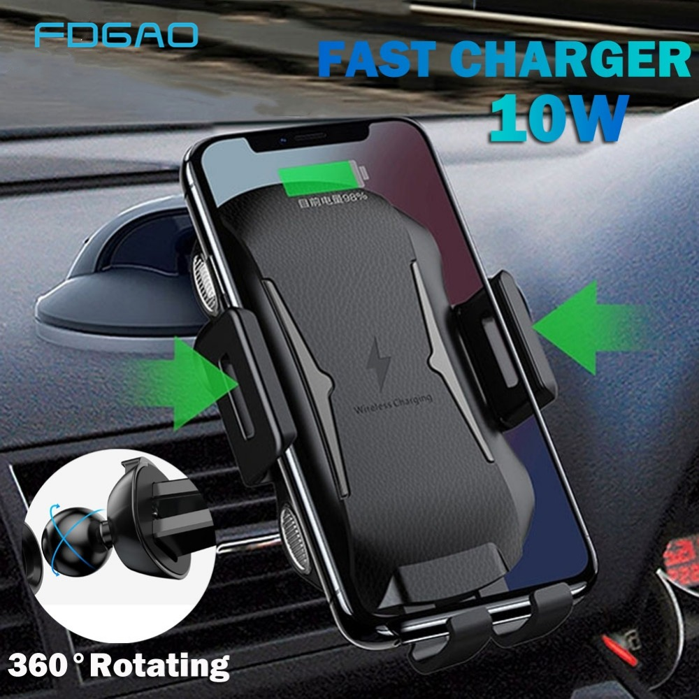 FDGAO Automatic Wireless Charger For iPhone XS Max X XR 8 Plus Car Mount QI Fast Charging For Samsung S9 S8 Note 9 Phone Holder