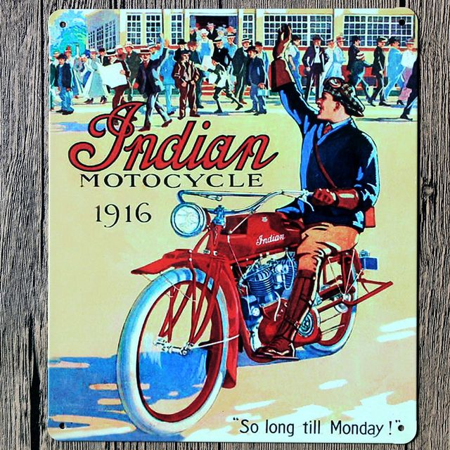 Indian Motorcycles 1916 Chaplin Clic Vintage Car Tin Poster Metal Plate Wall Decor By Abstract Sign