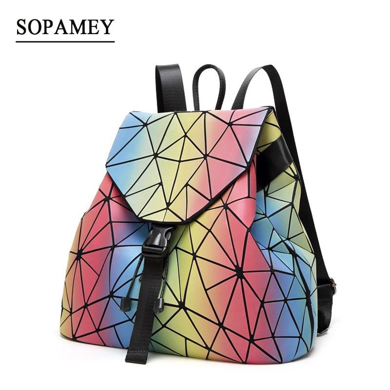 SOPAMEY Women Laser Backpack for Teenage Girls Drawstring Fold Geometry Mirror Schoolbags Backpack Holograph School Bags Mochila