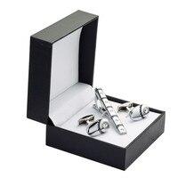 Un conjunto de alta calidad de Cristal de Plata Gemelos tie clip Gemelos Caja de Regalo de Boda Set envío libre de los hombres