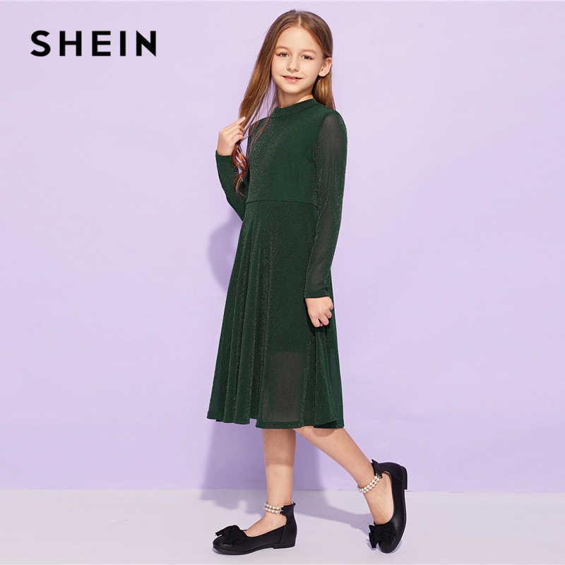 487d62972ecc3 SHEIN Kiddie Army Green Solid Flared Elegant Girl Party Kids Dresses For  Girls 2019 Spring Korean Fashion A Line Long Dress