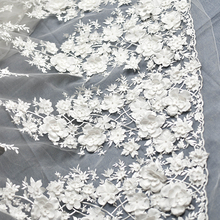 Pink Off White Wedding Dress Lace Fabric 3D Chiffon Flowers Nail Bead High End European For Cloth Accessories
