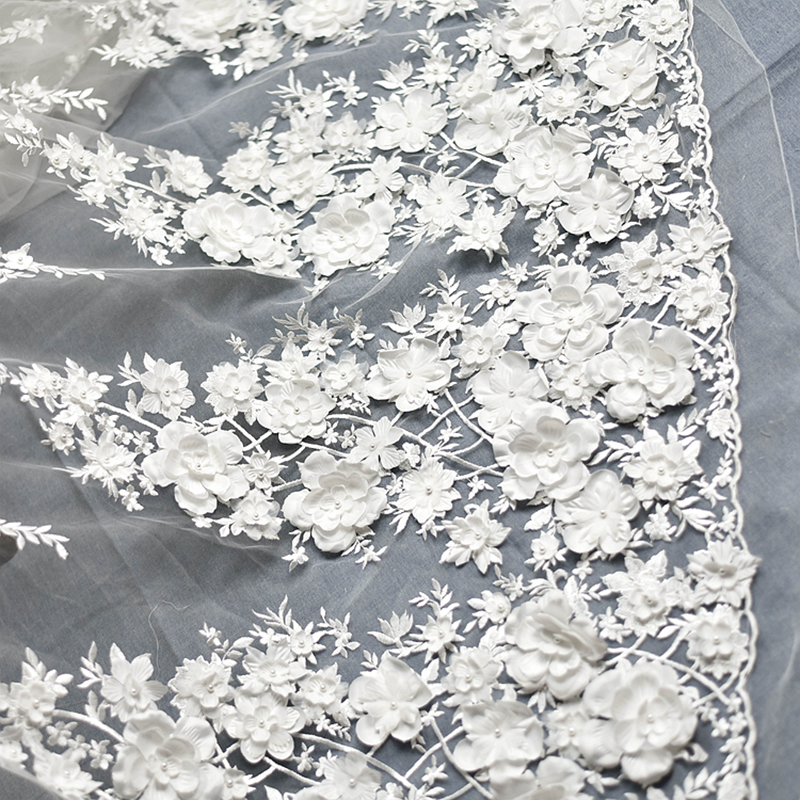 Pink Off White Wedding Dress Lace Fabric 3D Chiffon Flowers Nail Bead High End European Lace Fabric For Cloth Accessories