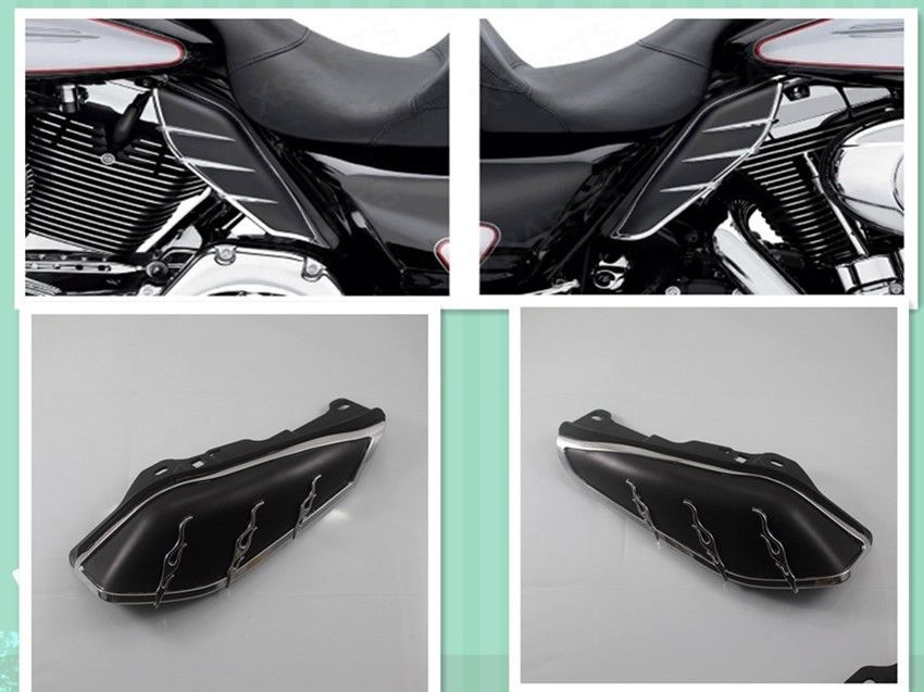 Motorcycle Black Mid-Frame Air/Heat Deflector Trims Shield For Harley Electra Glide Road Glide Road King Street Glide Tri Glide iridium saddle shield heat deflector for harley 2009 2016 electra tri glide trike touring road king street glide flht fltr flhr