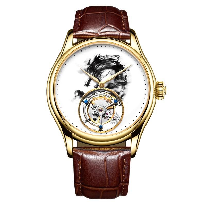 Switzerland Real Tourbillon Watch mens mechanical watch fashion waterproof leather hollow male Chinese ink horse goldSwitzerland Real Tourbillon Watch mens mechanical watch fashion waterproof leather hollow male Chinese ink horse gold