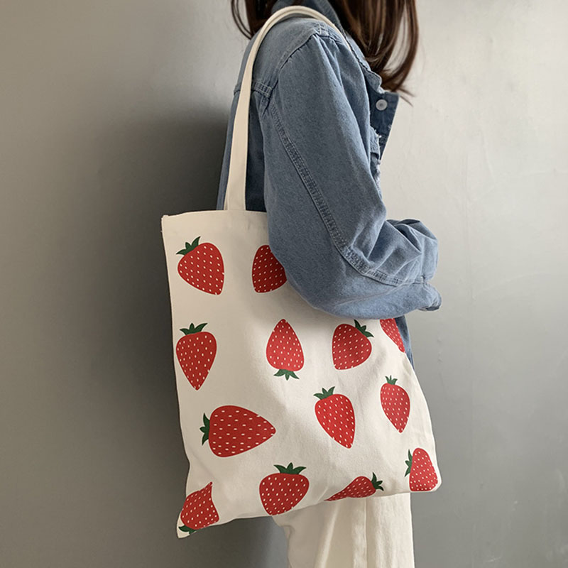 Women Canvas Tote Bag Eco Shopping Bag Large Capacity Strawberry Printing Shoulder Bag For Women Female Foldable Handbag A08