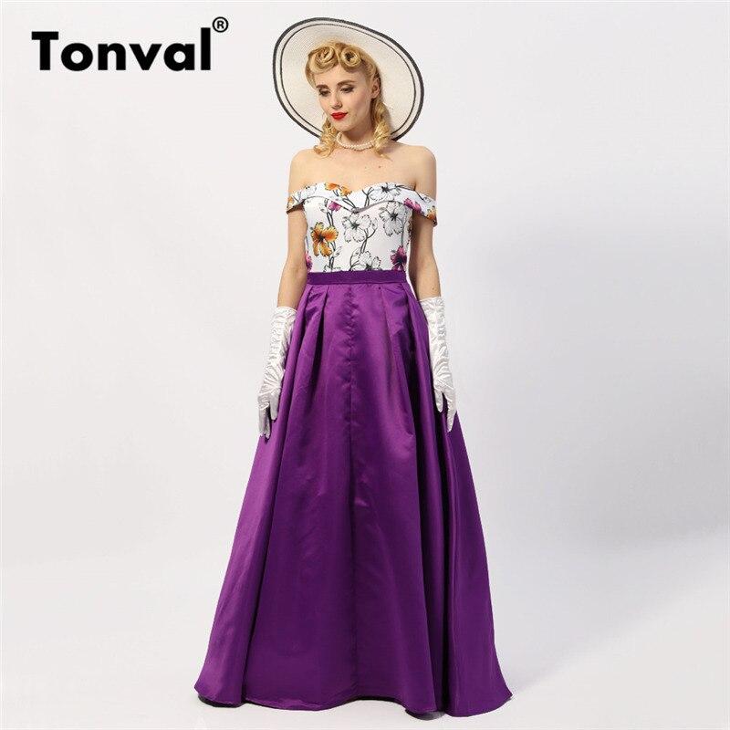 Tonval Vintage Floral Sexy épaule dénudée longue robe femmes violet Maxi robe de soirée formelle élégante robe d'été à fleurs