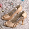 Peep Toe Champagne Colored Pumps High Heels Party Shoes 9CM