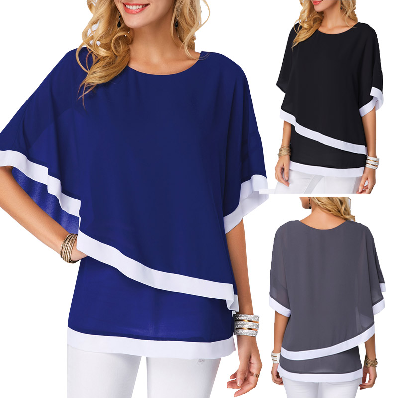 Loose Casual Tunic Chiffon Summer Women Shirt 2019 Bat Sleeve Patchwork Irregular 5XL Big Tops And Plus Size Blouse For Female