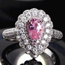 2017 New Arrival Luxury Jewelry 925 Sterling Silver 5A Pink CZ Zirconia Women Wedding Engagement Heart Pave Ring Gift  Size 5-10