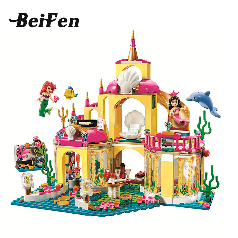 Girl Castle Series Friends Princess Undersea Palace Set Building Bricks Blocks  Children LegoINGlys Toys 10436 Christmas Gift new 37008 561pcs girl friends princess anna and the princess castle building kit blocks bricks toys for children gift brinquedos